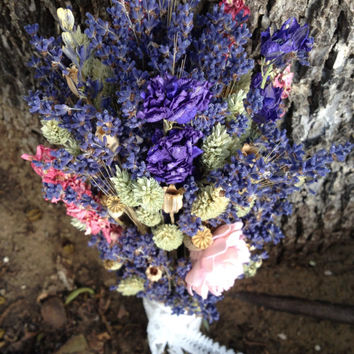 TOSS Bouquet- Lavender, Wheat, Cotton, Baby's Breath, Larkspur, Sola Flowers, Pods, Thistles, Roses, Caspedia, Dried Preserved Flowers