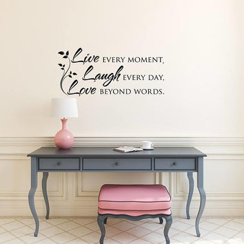 Wall Decal Quote Live Laugh Love, Family Wall Decal Quotes, Inspirational Vinyl Wall Decal Quote, Family Wall Decal Living Room Decor K132
