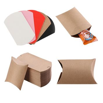 10pcs/set Colorful Paper Pillow Candy Box Present Pouch Kraft Wedding Favors Gift Candy Boxes Home Party Birthday Supply