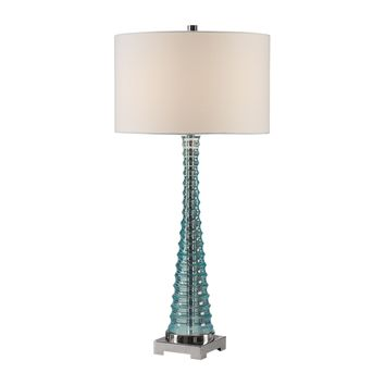 Mecosta Contemporary Sky Blue Glass Table Lamp by Uttermost