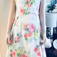 Vintage Liz Claiborne New York 1980's Cotton Summer Day Dress with V-Neck | eBay