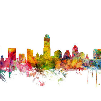 Austin Texas Skyline, Art Print (1210)