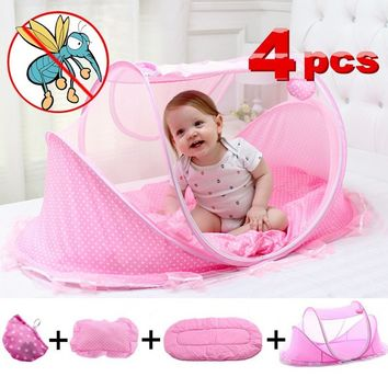 Spring Summer 0-3 Years Baby Bed Tent Crib Mattress Portable Foldable Mosquito Net Newborn Bedroom Travel Bed Baby Bed 100%Cotto