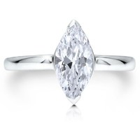 Sterling Silver 925 Cubic Zirconia CZ Marquise Cut Solitaire Ring #r380