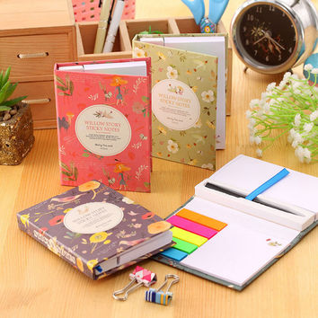 1set creative hardcover memo pad post it notepad sticky notes kawaii stationery diary notebook office school supplies + pen