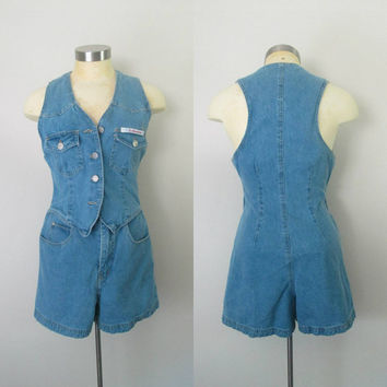 Denim Shorts Vest Romper Jumper One Piece Small Size 4 to 6