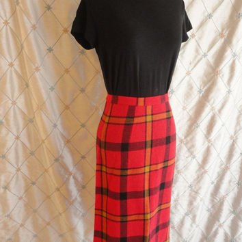 ON SALE 50s Skirt // Vintage 1950s Red Wool Plaid Pencil Skirt Size S 26 inch waist  Red Yellow Black Plaid