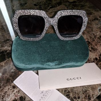 GUCCI GG 0048S Crystal Rhinestone Black Women Sunglasses Excellent Condition!!!