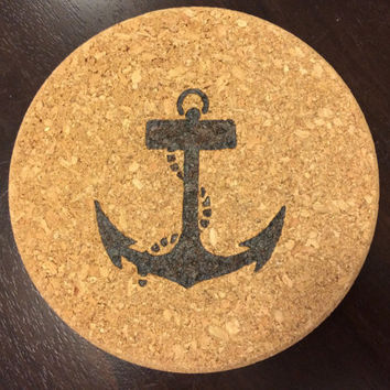 Wood Burned Nautical Anchor Cork Trivet 7.25 in diameter ~ Pyrography