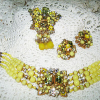 By Robert Parure Braclet Brooch Earrings Rhinestone & Yellow Beads Free Shipping in USA