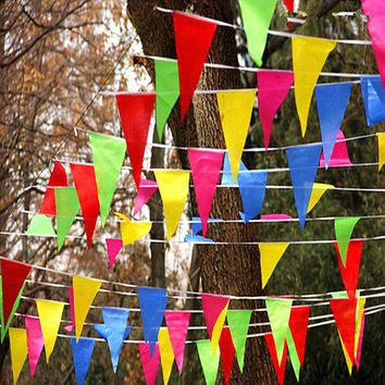 LMFONHS Wedding Festival Pennant String Banner Buntings Colorful 80m Triangle Flag Festival Party Holiday Decoration Christmas Strap