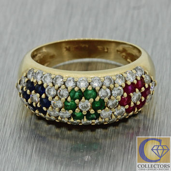 Effy 14k Solid Yellow Gold 1.16ctw Diamond Ruby Emerald Sapphire Cluster Ring