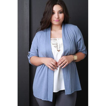 Thermal Knit Half Sleeve Cardigan