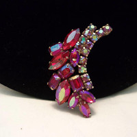 Antique Red Aurora Borealis Glass Rhinestone Vintage Estate Leaf Brooch Gold Plate Pin