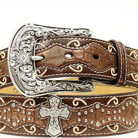 Ariat Women's Western Inlay Cross Concho Leather Belt