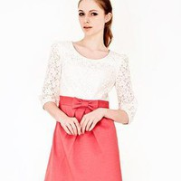 Red Day Dress - Bow Embellished 2-in-1 Lace Knit | UsTrendy