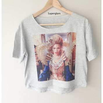 Beyonce Singer Pop Soul R&B Women Top Wide Crop Fashion T shirt