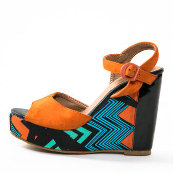 Vintage Orange Top Moda Class Aztec Wedges