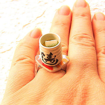 Kawaii Cute Japanese Ring Pottery Green Tea Cup by SouZouCreations