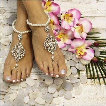 DIANA pearl wedding barefoot sandals