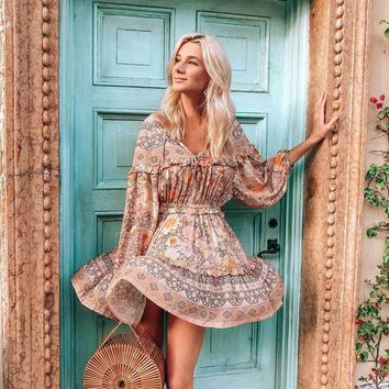 BOHO INSPIRED blush florla print frill summer dresses long sleeve pleated women dress elastic mini gypsy boho dress chic vestido