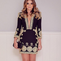Hot Sale Sexy Deep V Slim Print One Piece Dress [4966113412]