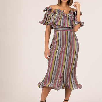 Stripes And Ruffles Metallic Dress
