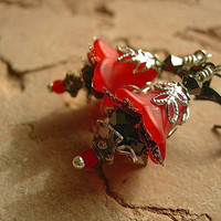 Dramatic Red Earrings, Scarlet Nymph, Red & Black, Silver Filigree, Fairy Flowers