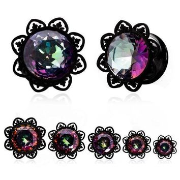 ac PEAPO2Q 1Pair Crystal Zircon Ear Tunnels Plug Shellhard Stainless Steel Screw Ear Piercing  Flesh Tunnel Stretcher Ear Expanders Jewelry