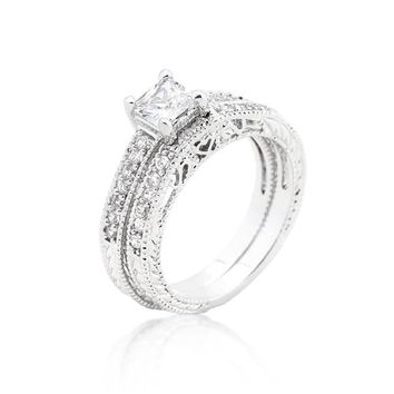 WildKlass Princess Cut Filigree Bridal Ring Set