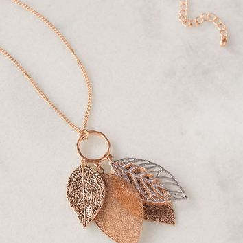 Falling Leaves Rose Gold Necklace