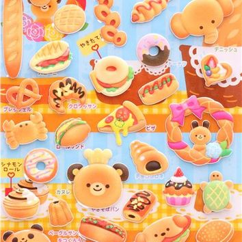 animal pastry sponge stickers and sticker book from Japan - Food Stickers - Sticker - Stationery
