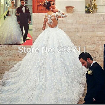 Gorgeous Sheer Long Sleeve Organza Tull Lace White Camo Wedding Dresses