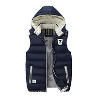 Mens Navy Two Tone Hooded Winter Vest