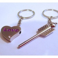 Love Heart and Arrow Matching Couples Keychains His and Hers | christinepurr - Accessories on ArtFire