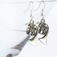 Music Earrings. Steampunk Antique Silver FRENCH HORN. Gift for Teacher Jazz Band Orchestra. tagt team