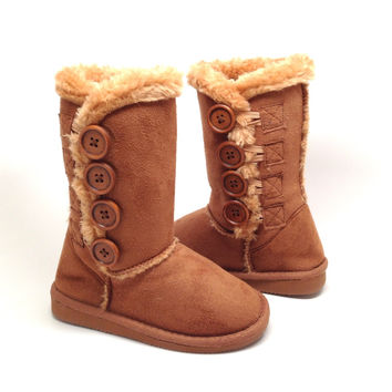Camel Suede Girl's Boot with Button Detail and Faux Fur Lined