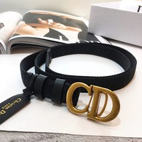 DIOR Fashion Women Cool Canvas CD Letter Smooth Buckle Waist Belt