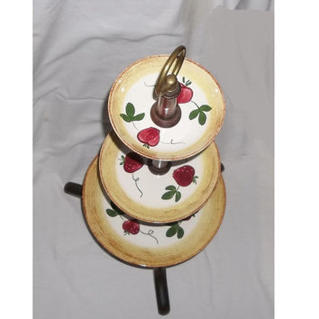 Blue Ridge Strawberry Tiered Server, Unusual Footed style