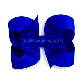 Electric Blue Boutique Bow 4 inch Hair Bow Neon by MySweetieBean