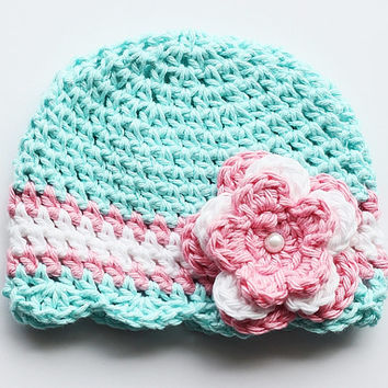 NICU, Preemie, Micropreemie, Newborn, Baby girl Hat, Hospital Hat, Soft Cotton Hat, Pink Flower Hat