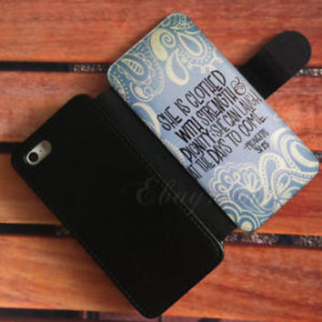 Bible Verse Proverbs 31 25 Wallet iPhone Cases Samsung Wallet Leather Phone Case