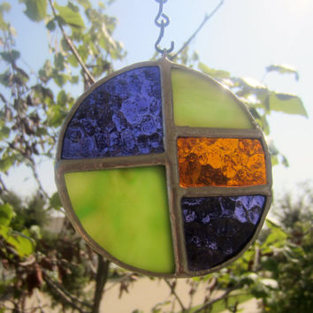 Green Purple Round Sun Catcher Stained Glass Ornament Free Shipping