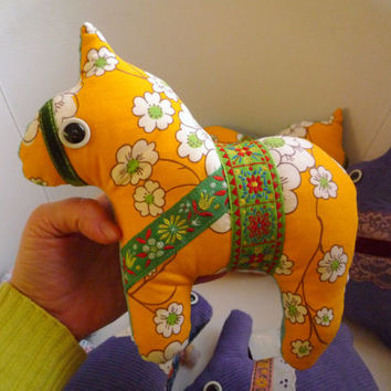 Deal of the day. Sunny horse, dala horse, pony soft art  toy creature by  Wassupbrothers yellow, blooming flowers, flowered, spring summer