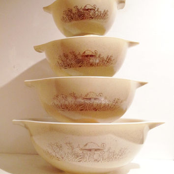 "Amazing Set of 4 Forest Fancies Mushroom Pattern Pyrex Mixing Bowls ""Cinderella"" Style"