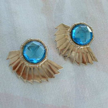 Geometric Blue Art Deco Style Earrings Rose Cut Post Style Geometric Vintage Jewelry