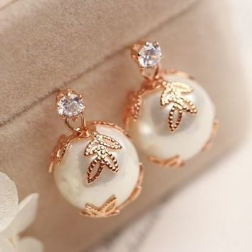 Golden Leaves Wrapped Pearl Earrings - LilyFair Jewelry