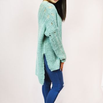 cozy delight sweater-seafoam
