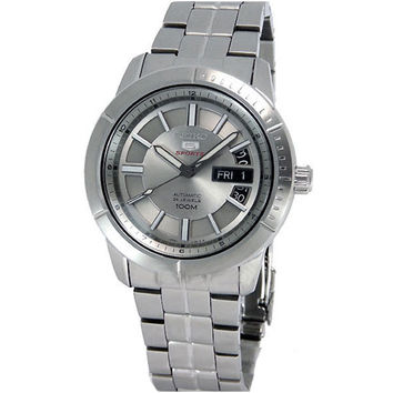 Seiko SRP335 Men's 5 Sports Silver Dial Stainless Steel Bracelet Automatic Watch