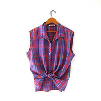 Vintage Plaid Sleeveless Shirt. Button Up Tank Top. Collared shirt. Loose fit top.